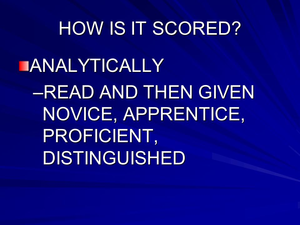 Scoring of ON-Demand Based on: –Purpose/Audience –Idea Development/Support –Organization –Sentence structure –Use of correct language for the content –Correctness of spelling, punctuation, capitalization, documentation
