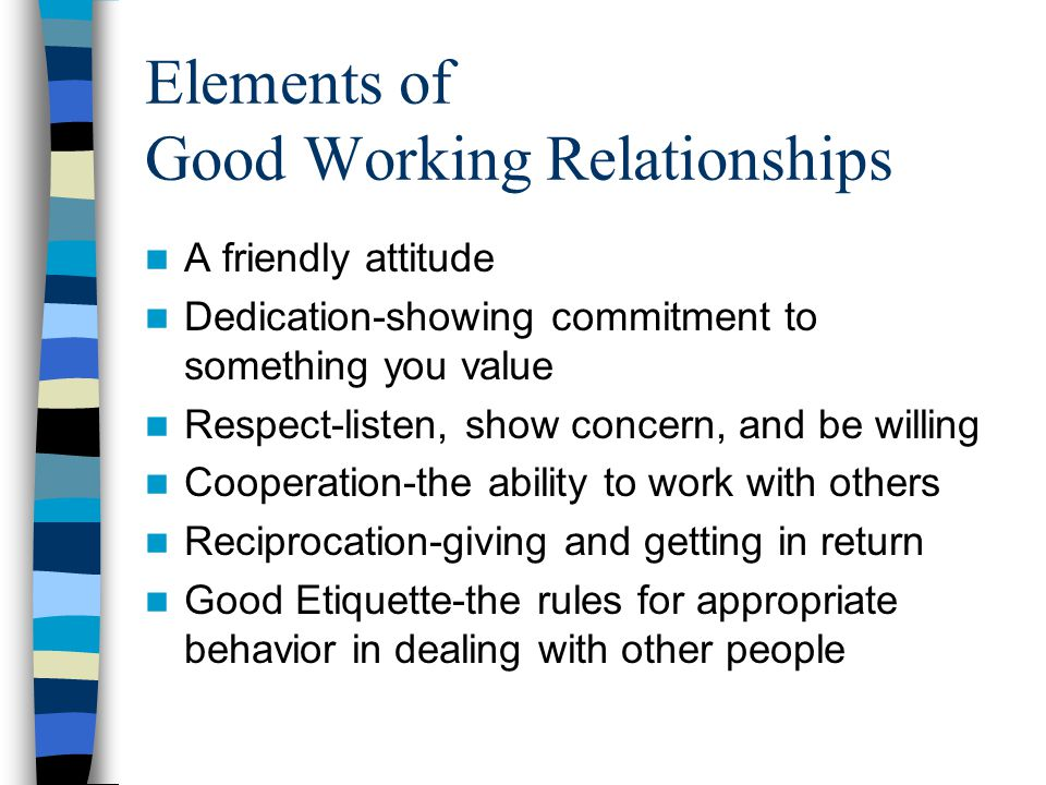 Elements of Good Working Relationships A friendly attitude Dedication-showing commitment to something you value Respect-listen, show concern, and be willing Cooperation-the ability to work with others Reciprocation-giving and getting in return Good Etiquette-the rules for appropriate behavior in dealing with other people