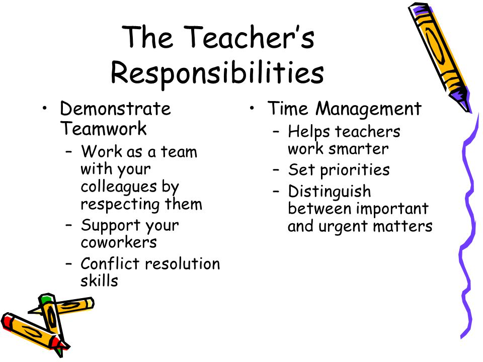 The Teacher's Responsibilities Demonstrate Teamwork –Work as a team with your colleagues by respecting them –Support your coworkers –Conflict resoluti