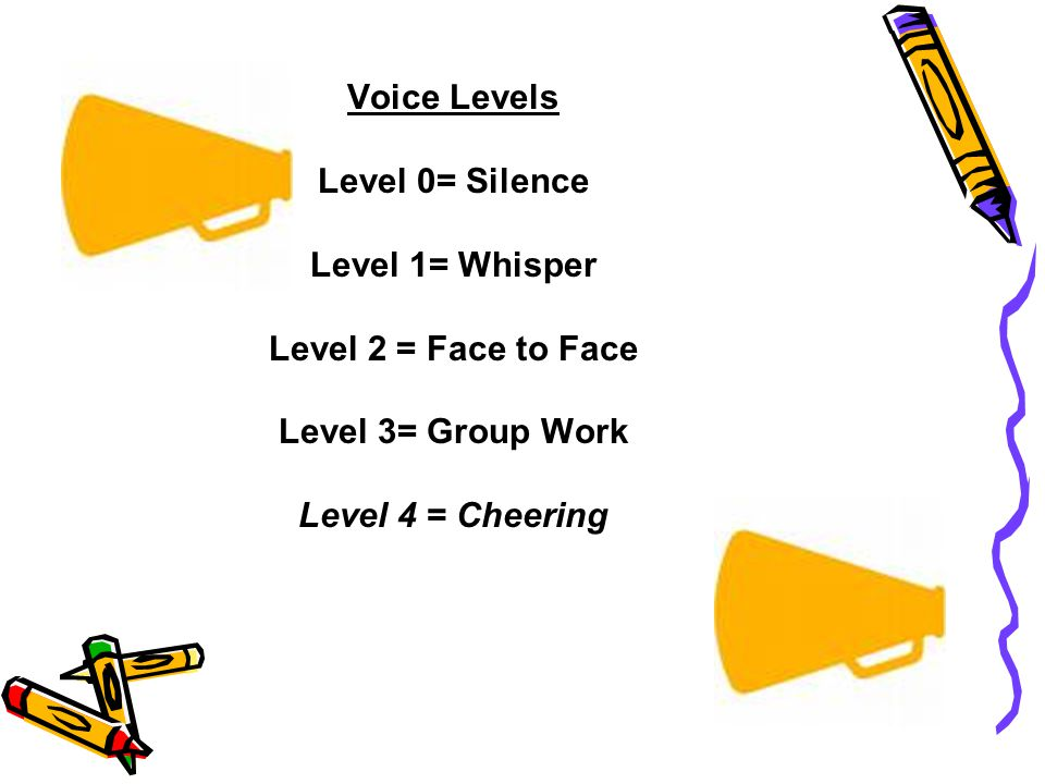 Voice Levels Level 0= Silence Level 1= Whisper Level 2 = Face to Face Level 3= Group Work Level 4 = Cheering