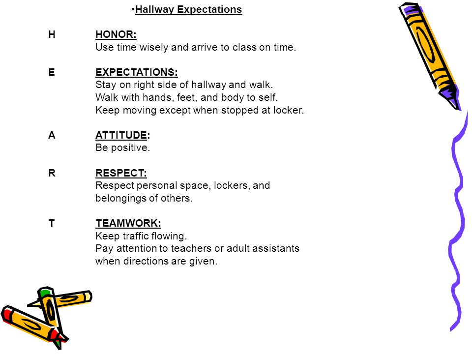 Hallway Expectations HHONOR: Use time wisely and arrive to class on time. EEXPECTATIONS: Stay on right side of hallway and walk. Walk with hands, feet