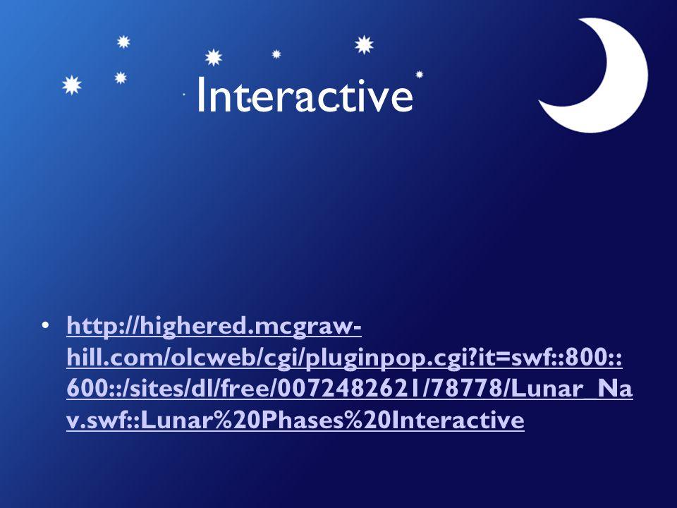 Interactive http://highered.mcgraw- hill.com/olcweb/cgi/pluginpop.cgi?it=swf::800:: 600::/sites/dl/free/0072482621/78778/Lunar_Na v.swf::Lunar%20Phase