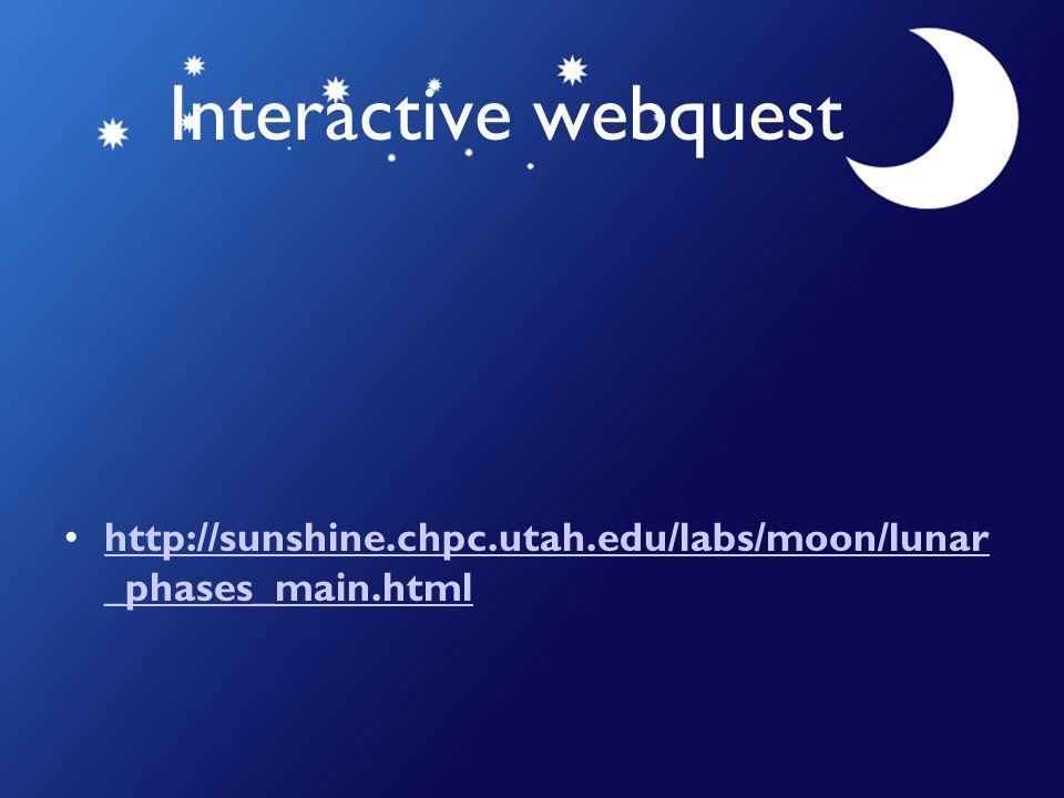 Interactive webquest http://sunshine.chpc.utah.edu/labs/moon/lunar _phases_main.htmlhttp://sunshine.chpc.utah.edu/labs/moon/lunar _phases_main.html