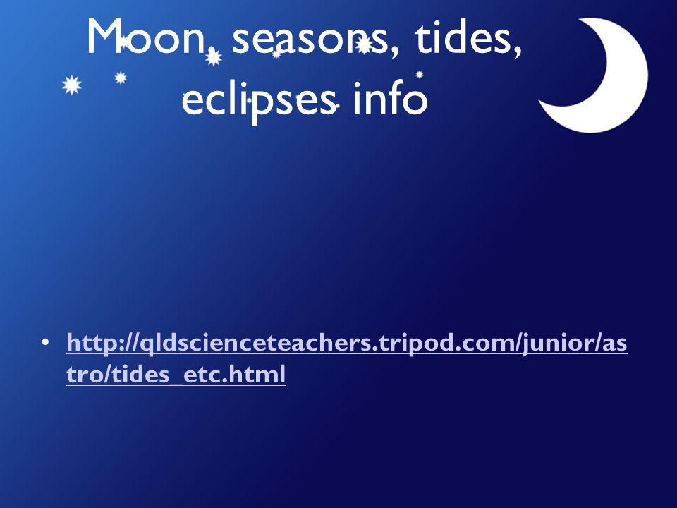 Moon, seasons, tides, eclipses info http://qldscienceteachers.tripod.com/junior/as tro/tides_etc.htmlhttp://qldscienceteachers.tripod.com/junior/as tr