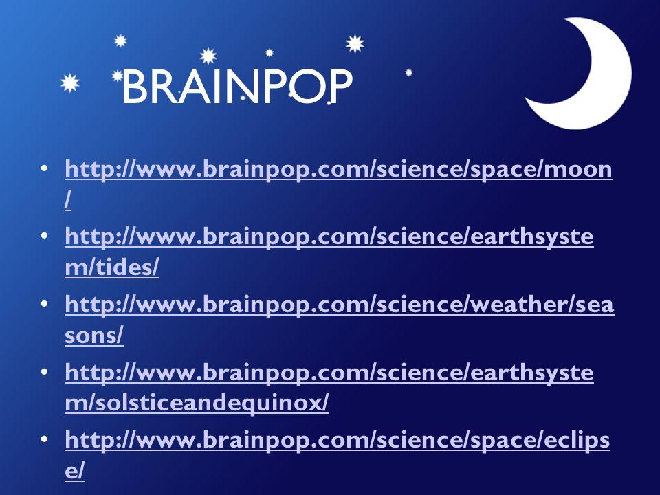 BRAINPOP http://www.brainpop.com/science/space/moon /http://www.brainpop.com/science/space/moon / http://www.brainpop.com/science/earthsyste m/tides/h