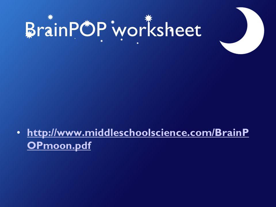 BrainPOP worksheet http://www.middleschoolscience.com/BrainP OPmoon.pdfhttp://www.middleschoolscience.com/BrainP OPmoon.pdf