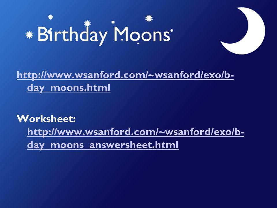 Birthday Moons http://www.wsanford.com/~wsanford/exo/b- day_moons.html Worksheet: http://www.wsanford.com/~wsanford/exo/b- day_moons_answersheet.html