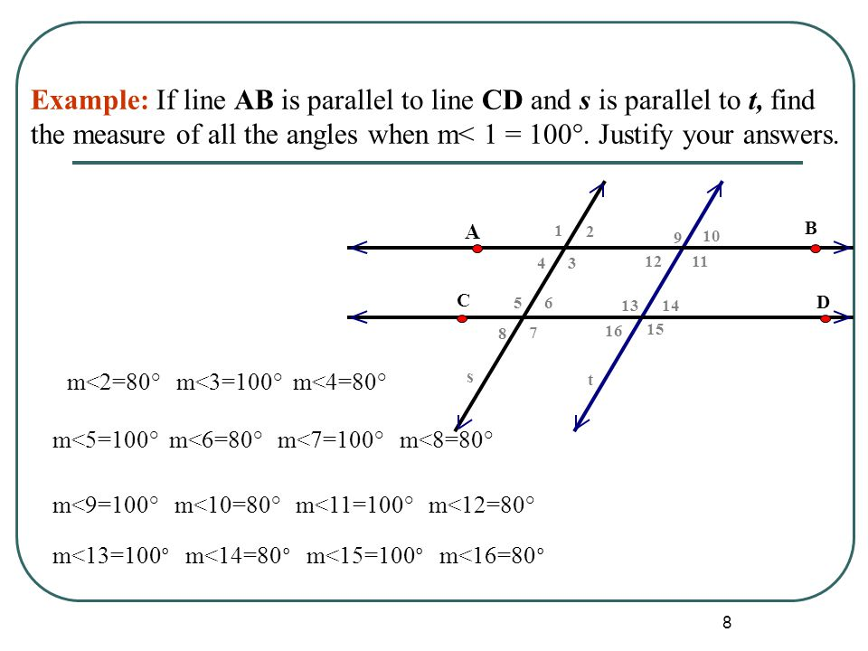 8 Example: If line AB is parallel to line CD and s is parallel to t, find the measure of all the angles when m< 1 = 100°. Justify your answers. m<2=80