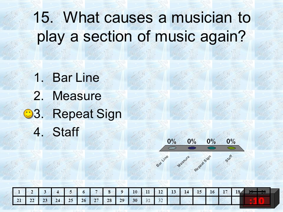 15.What causes a musician to play a section of music again.