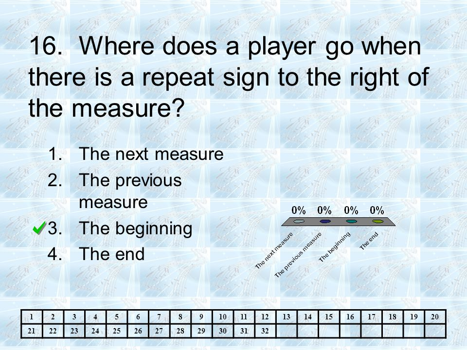 16.Where does a player go when there is a repeat sign to the right of the measure.