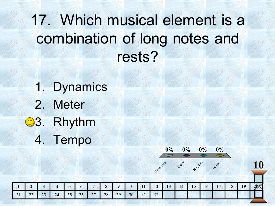 17.Which musical element is a combination of long notes and rests.