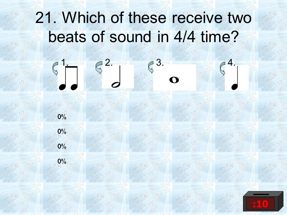 21. Which of these receive two beats of sound in 4/4 time? 1.2.3.4. :10
