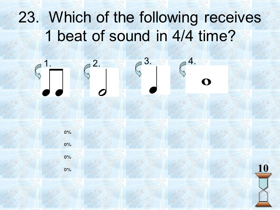 23. Which of the following receives 1 beat of sound in 4/4 time? 1.2. 3.4. 10