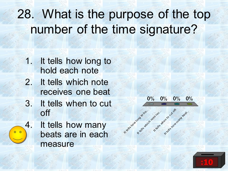 28.What is the purpose of the top number of the time signature.