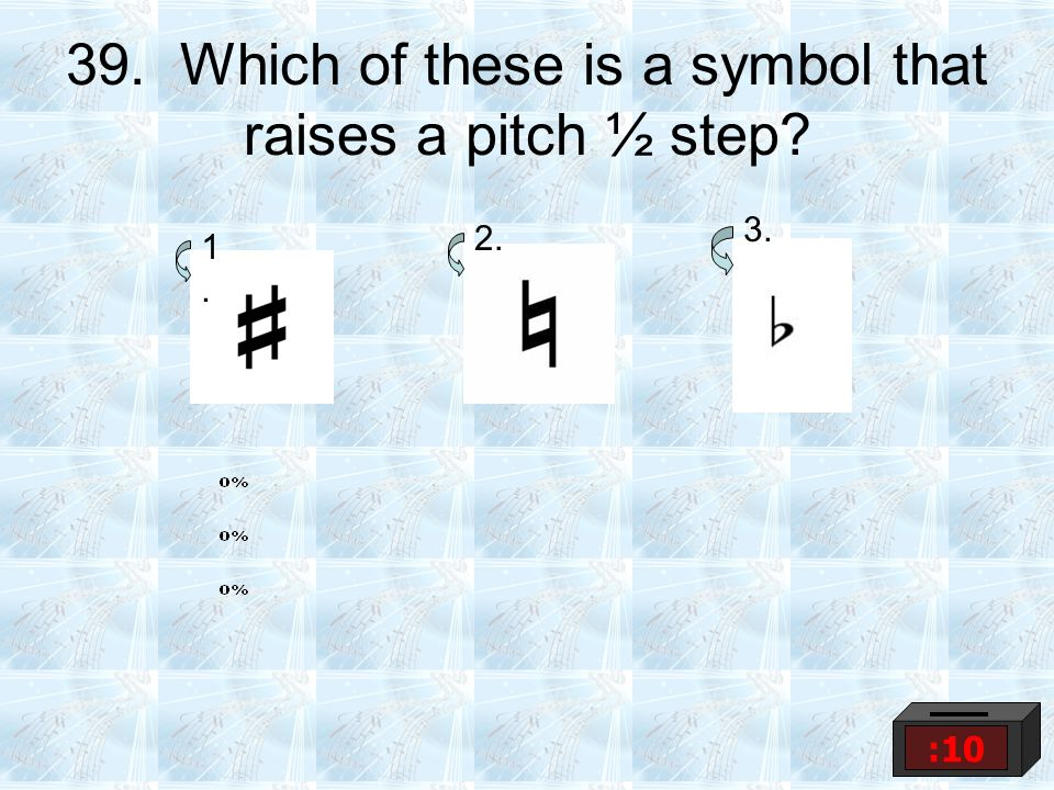 39. Which of these is a symbol that raises a pitch ½ step? 1.1. 2. 3. :10