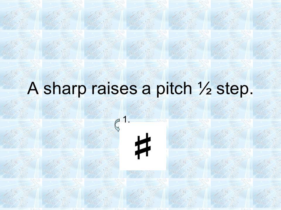 A sharp raises a pitch ½ step. 1.