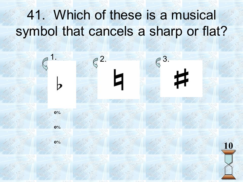 41. Which of these is a musical symbol that cancels a sharp or flat? 1. 2.3. 10