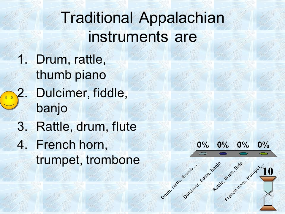 Traditional Appalachian instruments are 10 1.Drum, rattle, thumb piano 2.Dulcimer, fiddle, banjo 3.Rattle, drum, flute 4.French horn, trumpet, trombon
