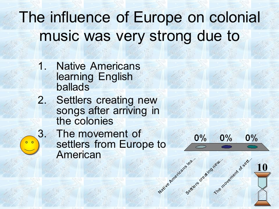 The influence of Europe on colonial music was very strong due to 10 1.Native Americans learning English ballads 2.Settlers creating new songs after ar