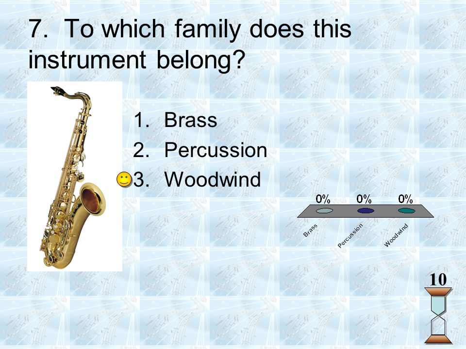7. To which family does this instrument belong? 10 1.Brass 2.Percussion 3.Woodwind