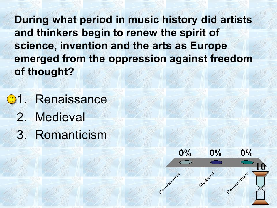 During what period in music history did artists and thinkers begin to renew the spirit of science, invention and the arts as Europe emerged from the o