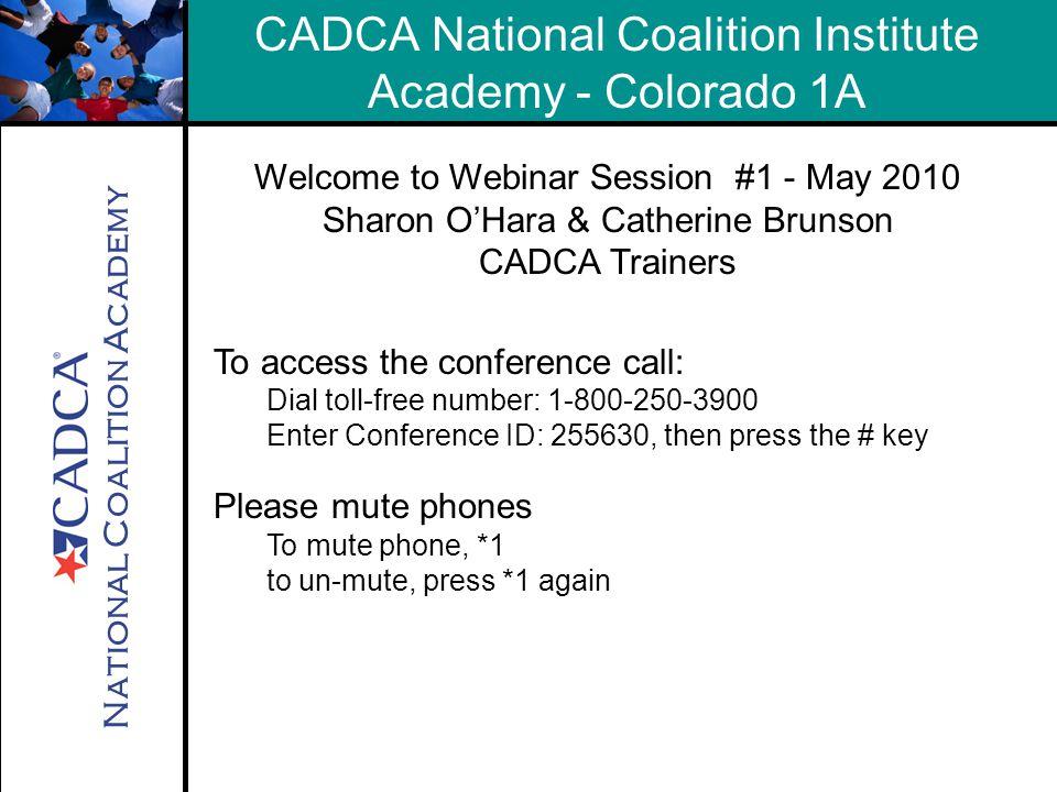 National Coalition Academy Contacts CADCA Technical Assistance 1-800-54CADCA x 240 training@cadca.org Sharon O'Hara 888-718-0708 seohara@ccat-ca.org Catherine Brunson 865-659-0474 MKThatcher1@aol.com