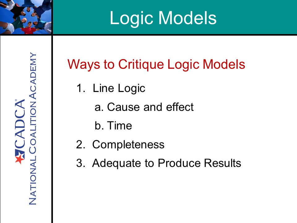 National Coalition Academy Ways to Critique Logic Models Logic Models 1.Line Logic a.Cause and effect b.Time 2.