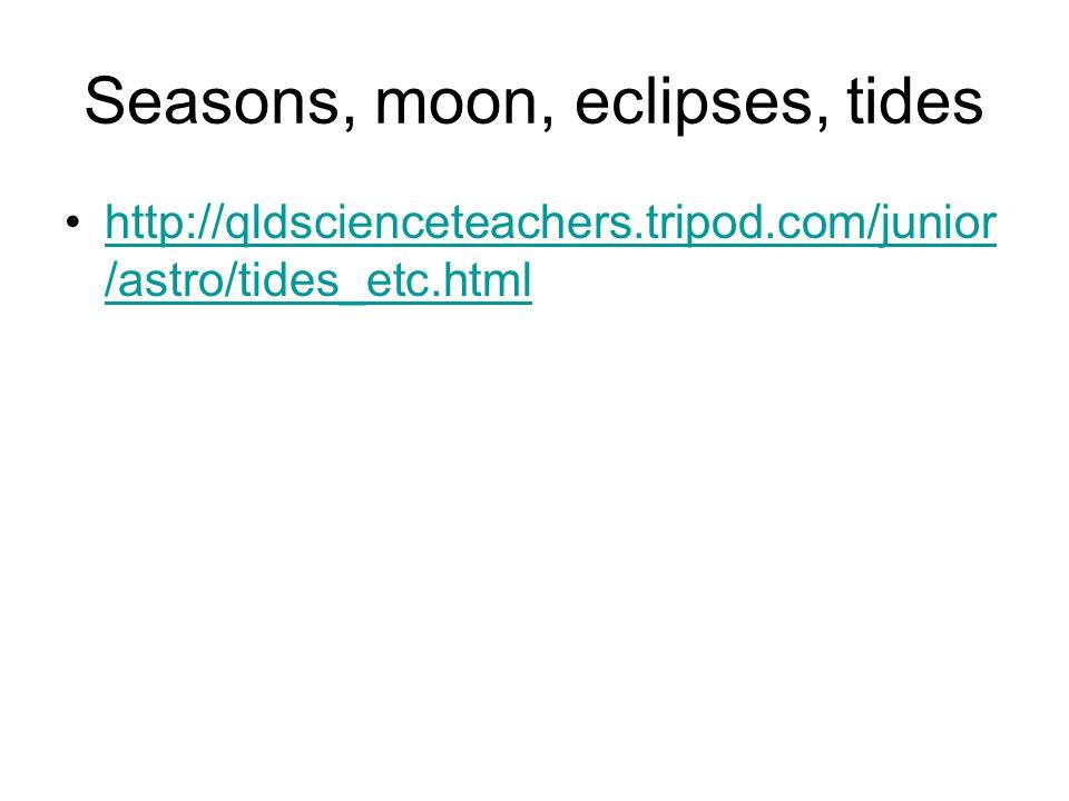 Seasons, moon, eclipses, tides http://qldscienceteachers.tripod.com/junior /astro/tides_etc.htmlhttp://qldscienceteachers.tripod.com/junior /astro/tid