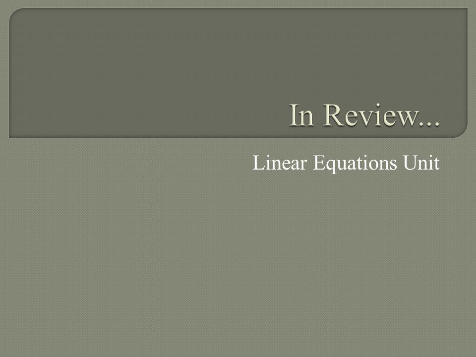Linear Equations Unit