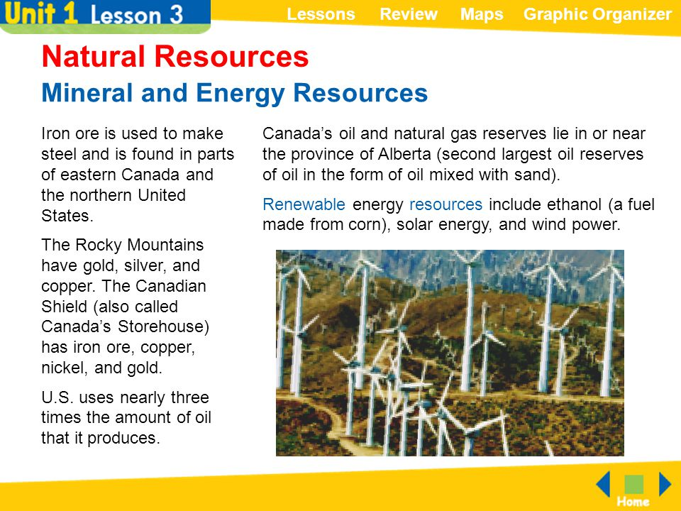 ReviewMapsGraphic OrganizerLessons Mineral and Energy Resources Natural Resources Iron ore is used to make steel and is found in parts of eastern Cana