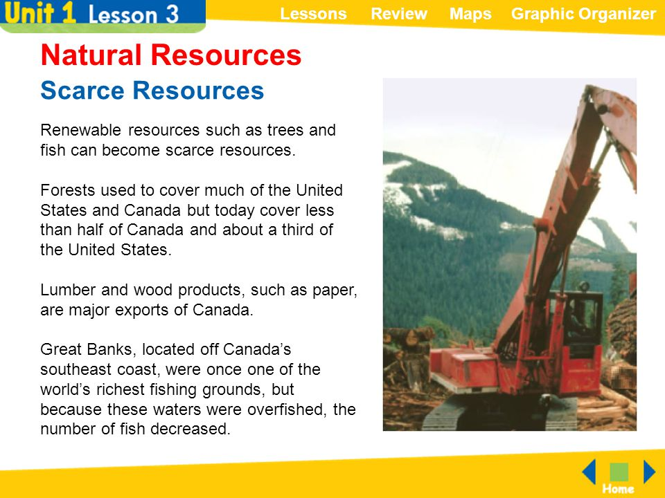 ReviewMapsGraphic OrganizerLessons Scarce Resources Natural Resources Renewable resources such as trees and fish can become scarce resources. Forests