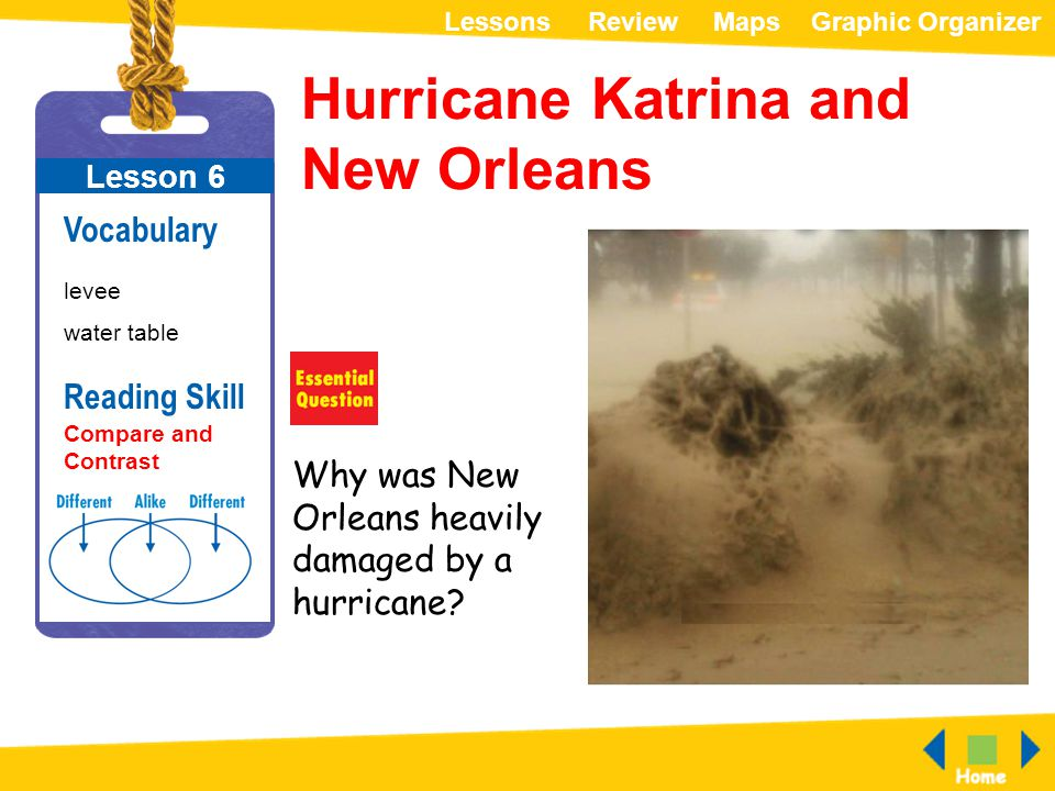 ReviewMapsGraphic OrganizerLessons Hurricane Katrina and New Orleans Lesson 6 Vocabulary levee water table Why was New Orleans heavily damaged by a hu
