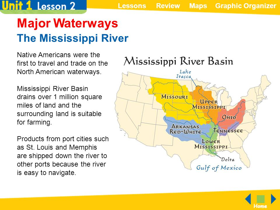 ReviewMapsGraphic OrganizerLessons The Mississippi River Major Waterways Native Americans were the first to travel and trade on the North American wat
