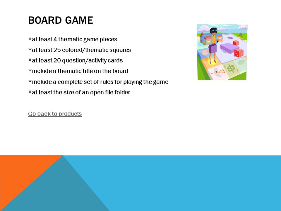 BOARD GAME *at least 4 thematic game pieces *at least 25 colored/thematic squares *at least 20 question/activity cards *include a thematic title on the board *include a complete set of rules for playing the game *at least the size of an open file folder Go back to products