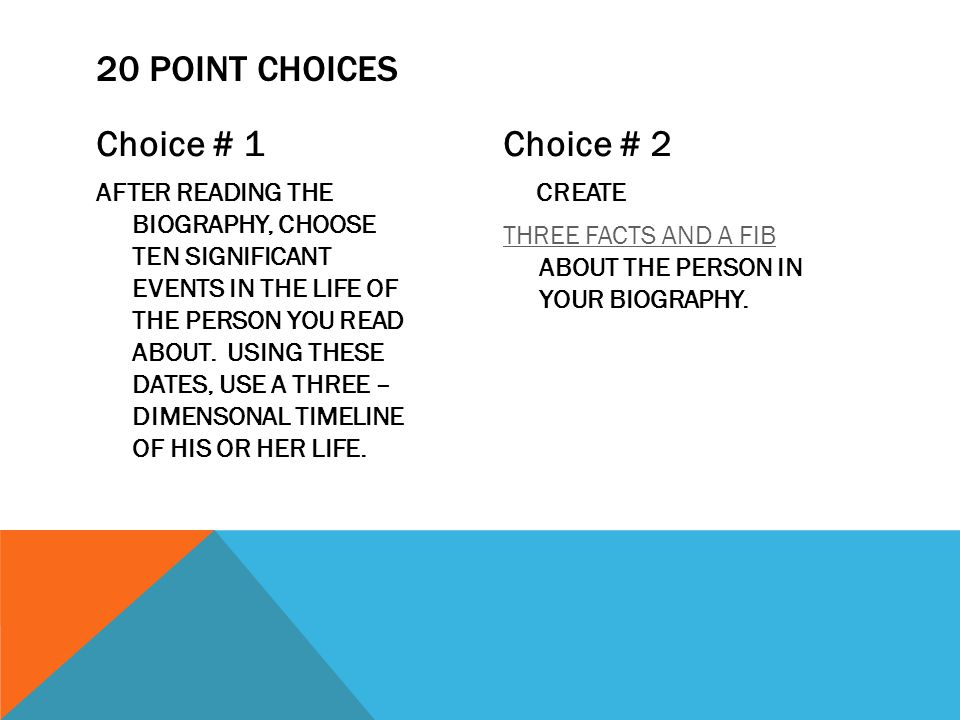 Choice # 1 AFTER READING THE BIOGRAPHY, CHOOSE TEN SIGNIFICANT EVENTS IN THE LIFE OF THE PERSON YOU READ ABOUT.