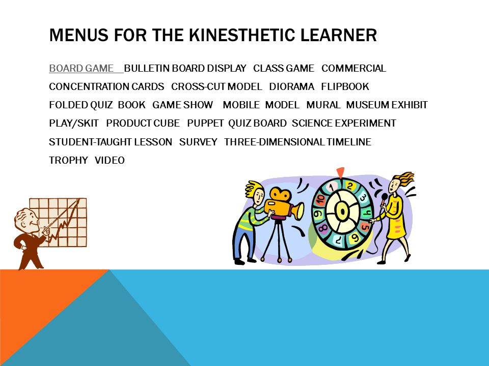 MENUS FOR THE KINESTHETIC LEARNER BOARD GAME BOARD GAME BULLETIN BOARD DISPLAY CLASS GAME COMMERCIAL CONCENTRATION CARDS CROSS-CUT MODEL DIORAMA FLIPBOOK FOLDED QUIZ BOOK GAME SHOW MOBILE MODEL MURAL MUSEUM EXHIBIT PLAY/SKIT PRODUCT CUBE PUPPET QUIZ BOARD SCIENCE EXPERIMENT STUDENT-TAUGHT LESSON SURVEY THREE-DIMENSIONAL TIMELINE TROPHY VIDEO