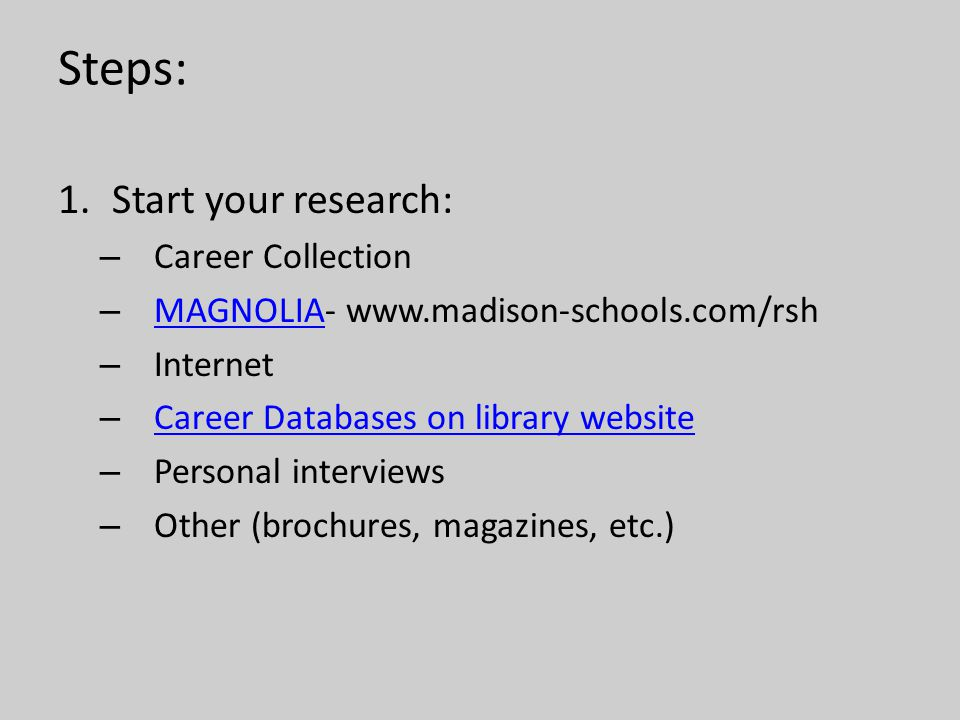 Steps: 1.Start your research: – Career Collection – MAGNOLIA- www.madison-schools.com/rsh MAGNOLIA – Internet – Career Databases on library website Ca