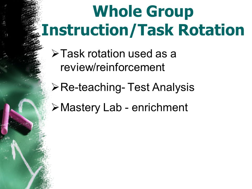 Whole Group Instruction/Task Rotation  Task rotation used as a review/reinforcement  Re-teaching- Test Analysis  Mastery Lab - enrichment