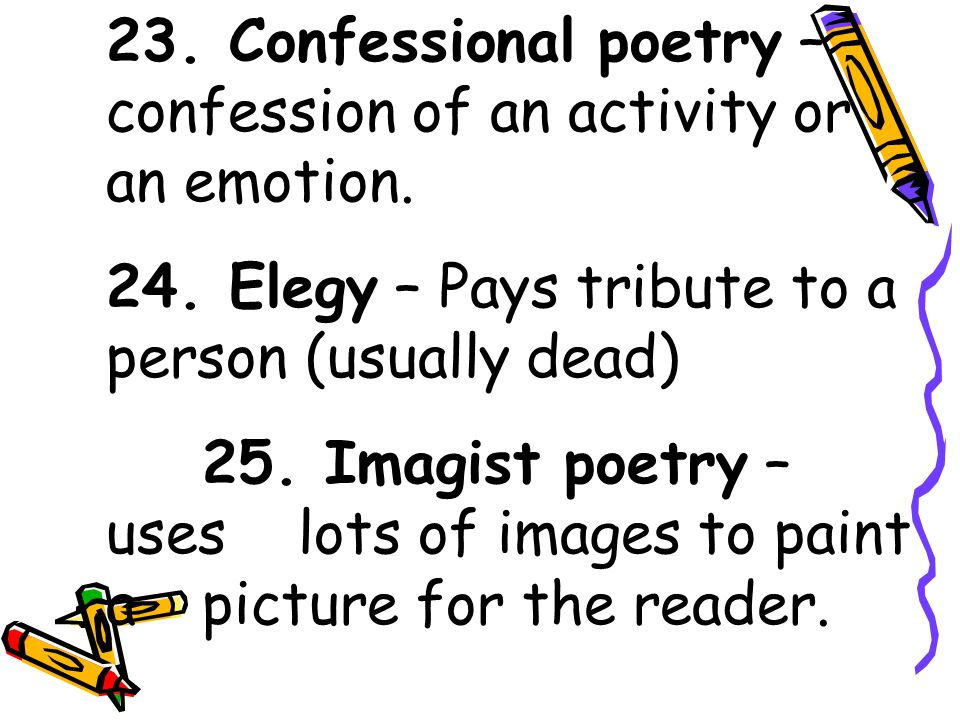 20. Motif – Main or reoccurring theme. 21. Extended Metaphor – a comparison developed over several lines of poetry. 22. Pun – Double meaning