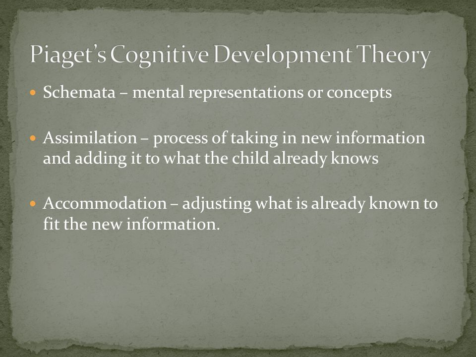 Schemata – mental representations or concepts Assimilation – process of taking in new information and adding it to what the child already knows Accomm