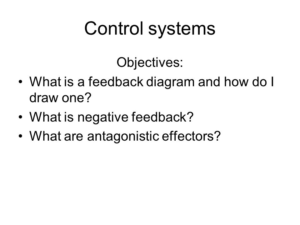 Control systems Objectives: What is a feedback diagram and how do I draw one.