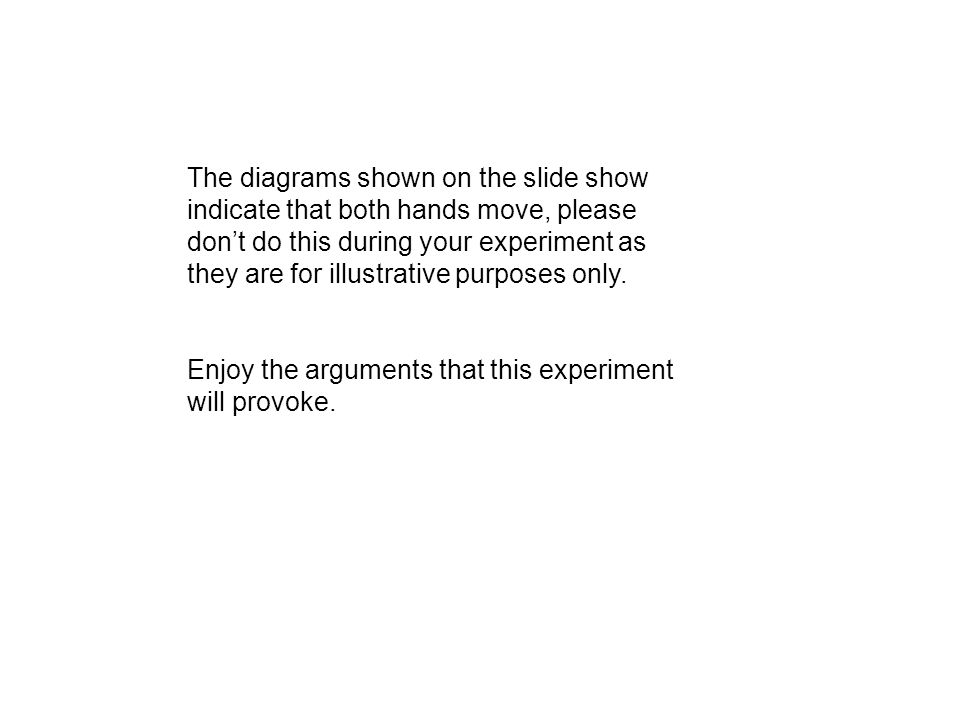 The diagrams shown on the slide show indicate that both hands move, please don't do this during your experiment as they are for illustrative purposes only.