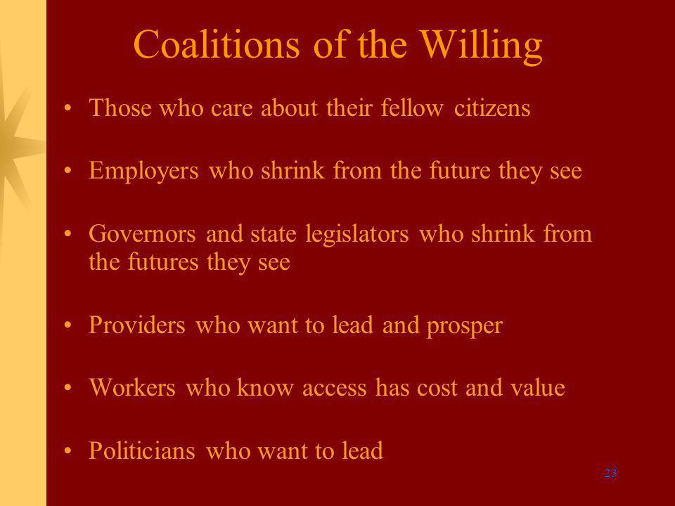23 Coalitions of the Willing Those who care about their fellow citizens Employers who shrink from the future they see Governors and state legislators who shrink from the futures they see Providers who want to lead and prosper Workers who know access has cost and value Politicians who want to lead