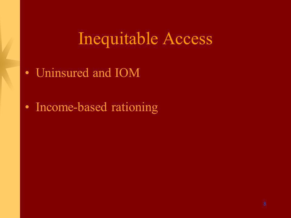 8 Inequitable Access Uninsured and IOM Income-based rationing