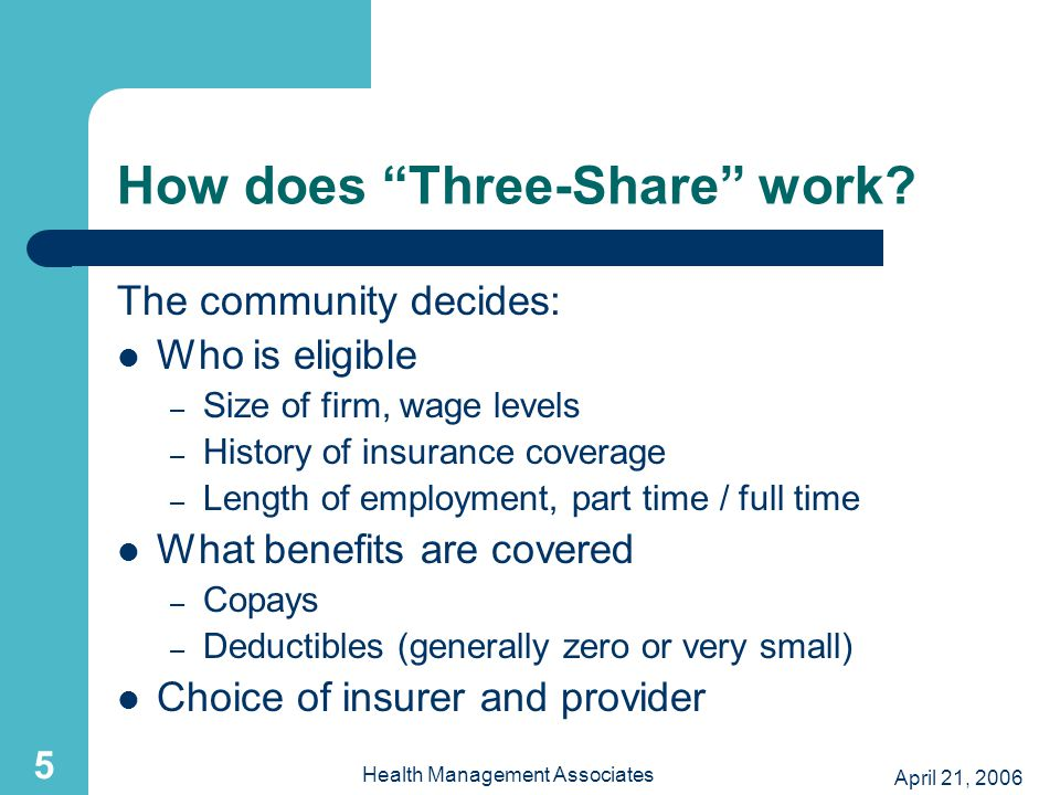 April 21, 2006 Health Management Associates 5 How does Three-Share work.