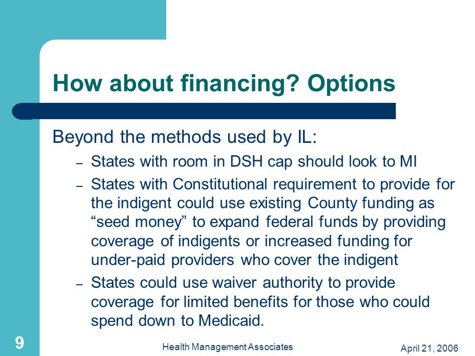 April 21, 2006 Health Management Associates 9 How about financing.