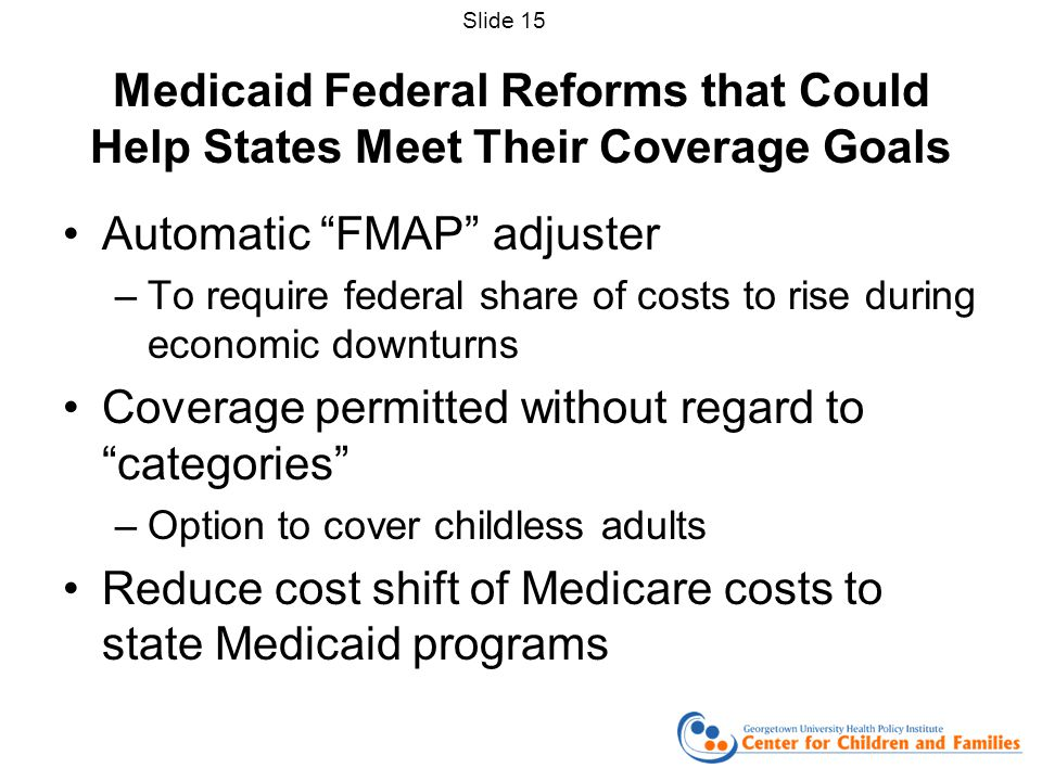 Medicaid Federal Reforms that Could Help States Meet Their Coverage Goals Automatic FMAP adjuster –To require federal share of costs to rise during economic downturns Coverage permitted without regard to categories –Option to cover childless adults Reduce cost shift of Medicare costs to state Medicaid programs Slide 15