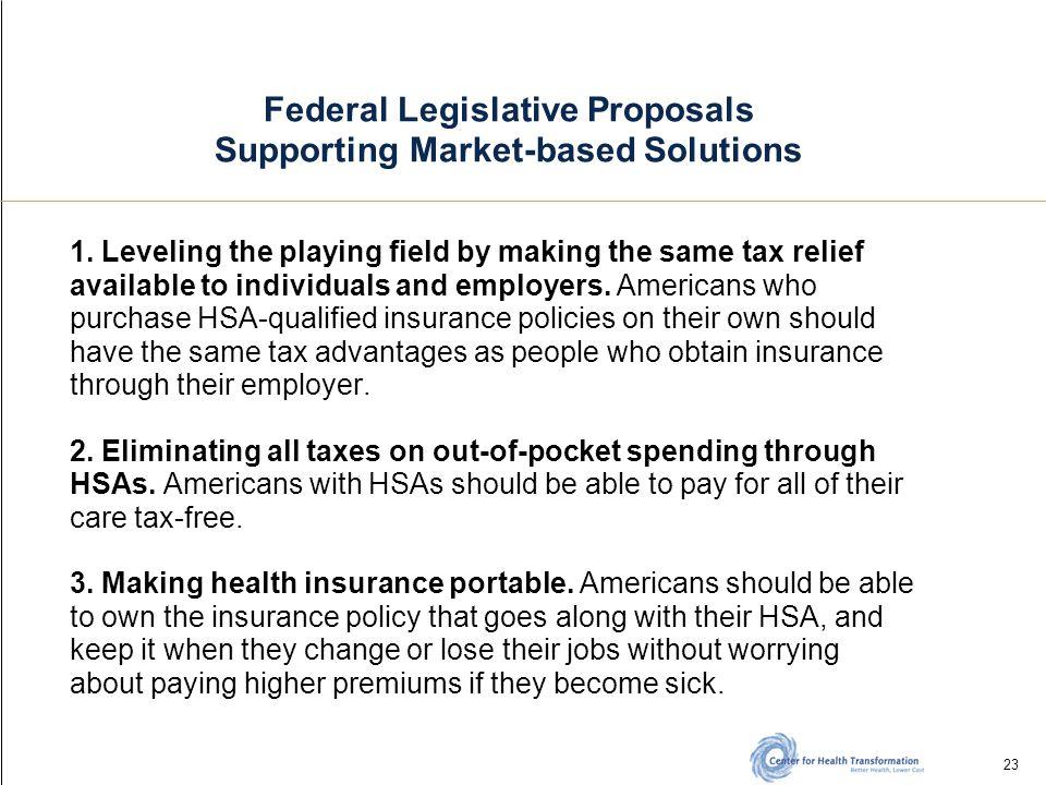 23 Federal Legislative Proposals Supporting Market-based Solutions 1.