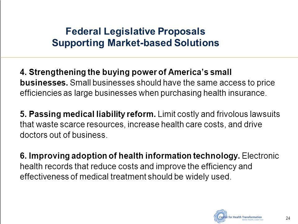 24 Federal Legislative Proposals Supporting Market-based Solutions 4.