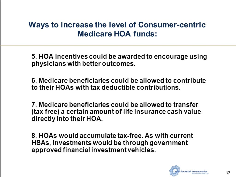 33 Ways to increase the level of Consumer-centric Medicare HOA funds: 5.
